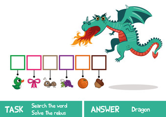 Educational puzzle game for kids. Find the hidden word Dragon. (Vector illustration)