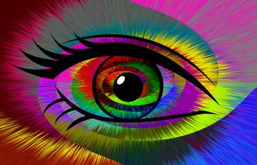 Abstraktes Auge mit buntem Strahlenhintergrund