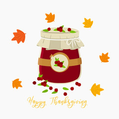 Happy Thanksgiving cranberry jam postcard cartoon vector on white background