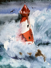 watercolor illustration. lighthouse. storm