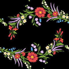 Vintage flowers seamless pattern. Stock illustration.