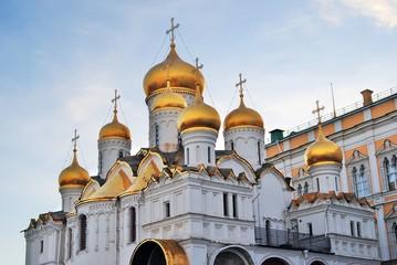 Annuncition church of Moscow Kremlin. Blue sky background.