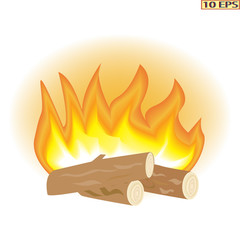 Vector. Flame, fire. The fire and the wood. Burning fire. Drawn icon perfect for decorating your project.