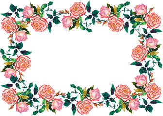 Flowers rose with leaves .Window floral wreath