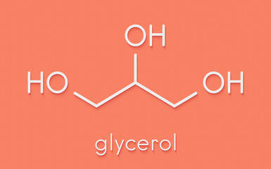 Glycerol (glycerin) molecule. Produced from fat and oil triglycerides. Used as sweetener, solvent and preservative in food and drugs. Skeletal formula.