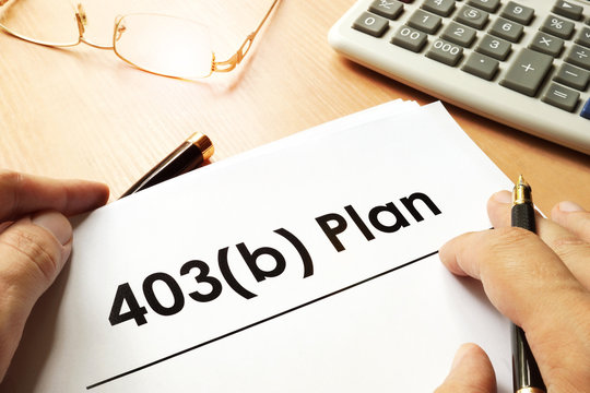 Document with sign 403b plan. Retirement concept.