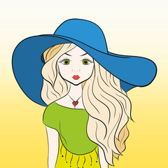 Charming blonde in a big summer hat