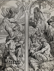 The Angel Stopping Abraham from Sacrificing Isaac to God and other biblical stories, graphic collage from engraving of Nazareene School, published in The Holy Bible, St.Vojtech Publishing, Trnava