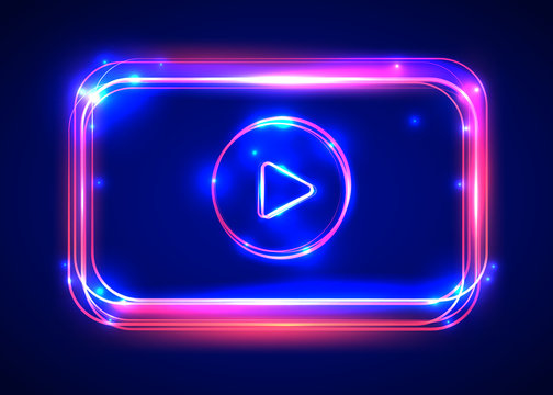 Vector round light video player frame. Shining square banner.