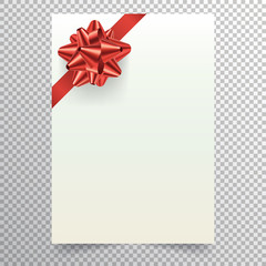 Blank paper sheet with red ribbon and conical bow. White blank a4 page isolated on transparent background. Applicable for christmass or birthday invitation design and greeting card. Vector eps 10.