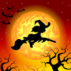 Hexe fliegt vor Vollmond in der Halloween Nacht