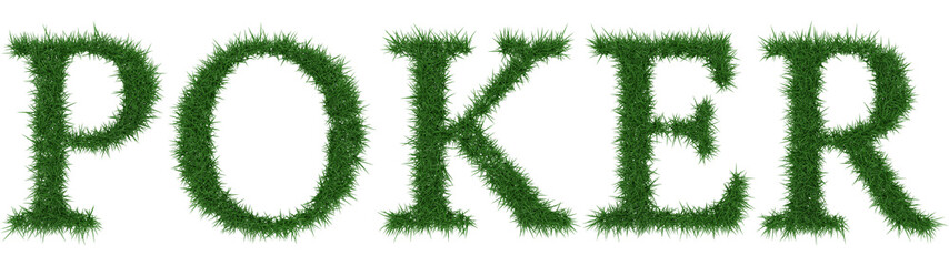Poker - 3D rendering fresh Grass letters isolated on whhite background.