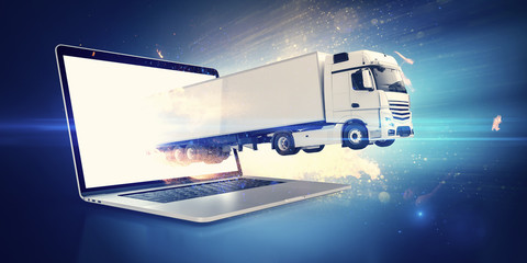 White truck jumping out of a notebook screen for express delivery after online shopping