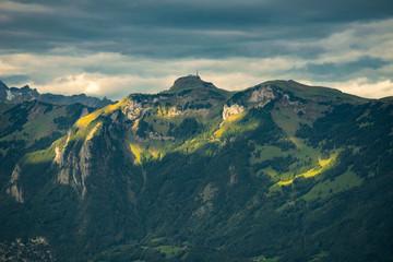 Oberes Rheintal mit Rankweil, Feldkirch, Ardetzenberg, Hoher Kasten, Säntis, Blick vom Viktorsberg (Vorarlberg)