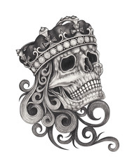 Art design king skull. Hand pencil drawing on paper.