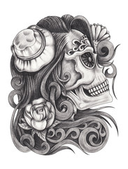 Art design women skull day of the dead.Hand pencil on paper.