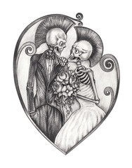 Art design wedding punk skulls. Hand drawing on paper.