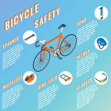 Bicycle Safety concept infographic. Vector set of bicycle parts isolated isometric icons. Bicycle objects and design elements. Bike repair gears