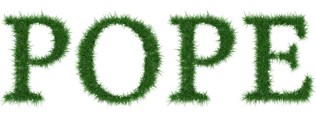 Pope - 3D rendering fresh Grass letters isolated on whhite background.