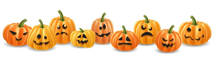 Halloween pumpkin head row with different expressions. Realistic vector illustration, with isolated pumpkins.