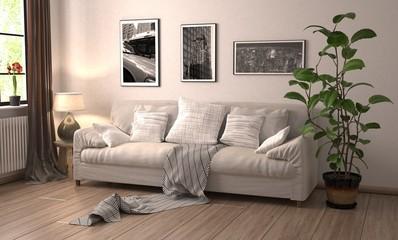 Gemühtliche Couch im Wohnzimmer