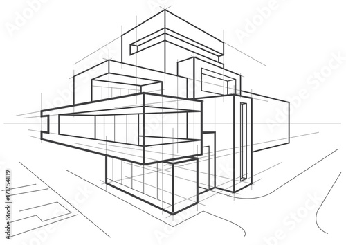 u0026quot abstract architectural linear sketch of multi
