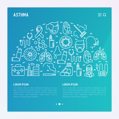 World asthma day concept with thin line icons: air pollution, smoking, respirator, therapist, inhaler, bronchi, allergy symptoms and allergens. Vector illustration for banner, web page, print media.