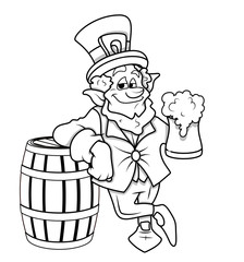 Drawing Art of Leprechaun Character with Beer