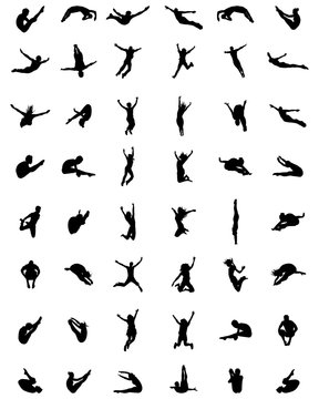 Black silhouettes of jumping people  on a white background