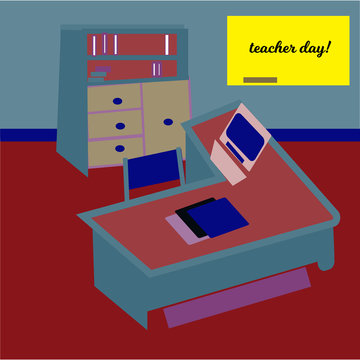 Happy teacher s day concept on green chalkboard, Vector, bookcase