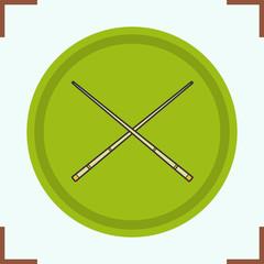 Crossed billiard cues color icon