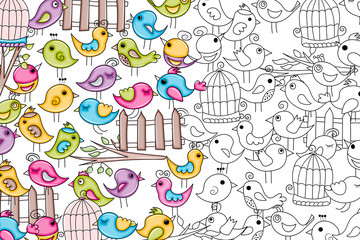 Birds summer or spring concept. Cartoon doodles background design. Hand drawn black and white outline coloring page vector illustration.