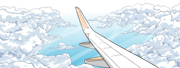 Illustration of aerial view from airplane with wing and clouds in color