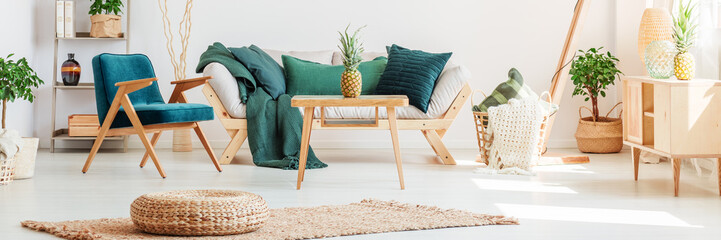 Pineapples on table in living room
