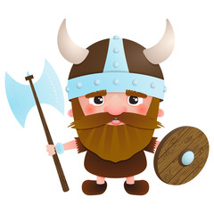 Viking cartoon character with an ax and a shield