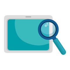 tablet device with magnifying glass