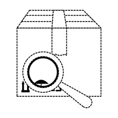 box carton with magnifying glass
