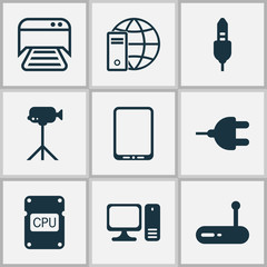 Hardware Icons Set. Collection Of Aux Cord, Internet Network, Camcorder And Other Elements. Also Includes Symbols Such As Photocopy, Audio, Cpu.