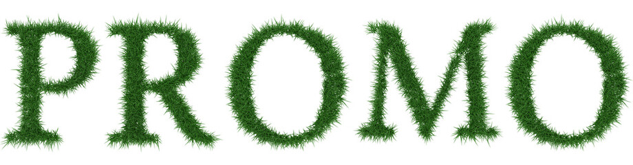 Promo - 3D rendering fresh Grass letters isolated on whhite background.