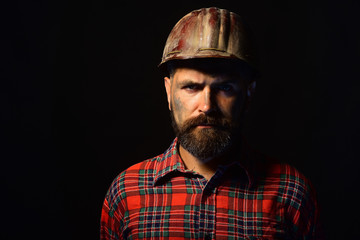 Builder or miner with thick beard. Worker with brutal image