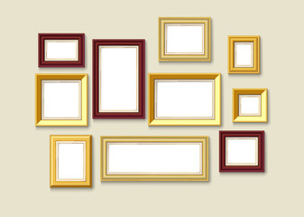 gold picture frame set on wall