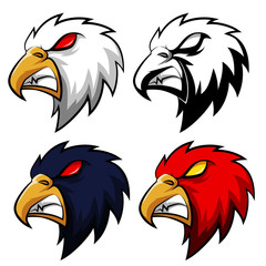 Angry eagle head in different colors. Vector Illustration