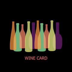 Different shaped colorful Wine bottles. Flat Design illustration