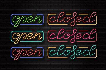 Vector set of realistic isolated neon signs of open and closed lettering for decoration and covering on the wall background.