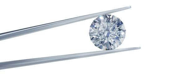 Großer Diamant mit Pinzette freigestellt im Querformat