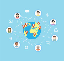 International Teamwork - vector flat illustration. Remote team work on a common project, freelance concept. Workers icons are linked around the globe.