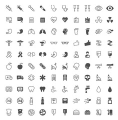 Set of 100 Medical Minimal and Solid Icons on White Background . Vector Isolated Elements