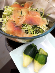 zucchini spaghetti with marinated salmon