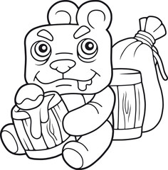 cartoon cute bear eating honey