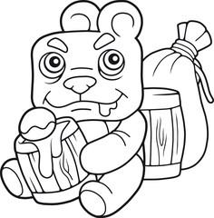 cartoon cute bear eating honey